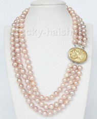 """16"""" 3 row 9mm pink-purple pearls necklace cameo seashell clasp j9375"""