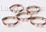 5piece adjustable khaki leather round pink pearls bracelet j9005A12F14