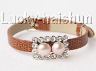 5piece adjustable coffee leather 9mm round purple pearls bracelet j8996A12F16