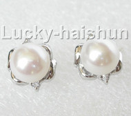 13mm white pearls Earrings Platinum Plated Stud j8888