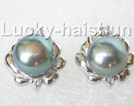 13mm black pearls zircon Earrings Platinum Plated Stud j8886