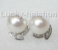 12mm leaf-shaped white pearls Earrings Platinum Plated j8882