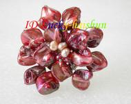 "3"" baroque Flower red seashell white pearls crystal Brooch j8578"