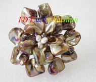 "3"" baroque Flower coffee seashell white pearls crystal Brooch j8575"