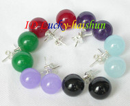 10mm 6piece MIX Multicolor red jade black agate earrings 925sc Stud j8398