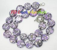 "18"" 16mm coin button purple lavender turquoise necklace j8114"