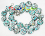 """Amazing 18"""" 16mm coin button blue turquoise necklace j8110"""