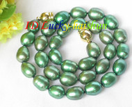 """12mm Genuine green rice freshwater pearls necklace magnet clasp 16"""" j7931"""
