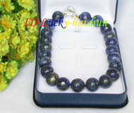 AAA Genuine 100% NATURE ROUND LAPIS LAZULI NECKLACE 18MM 925sc CLASP GIFT j7703