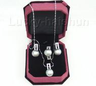 12mm Gray pearl necklace pendant Earring Rings 925sc set j7581