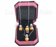 12mm coffee pearl necklace pendant Earring Rings 925sc set j7580