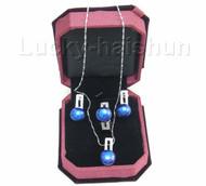 12mm blue pearl necklace pendant Earring Rings 925sc set j7579