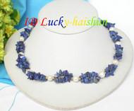2row lapis lazuli white freshwater pearl necklacej7557