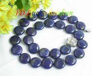 AAA nature coin fastener lapis lazuli necklace 14mm j7362