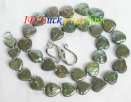12X12.5mm Green coin Heart-shape pearls necklace j7263