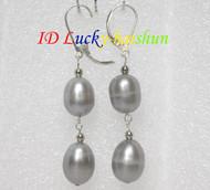 13mm drop gray pearls dangle earrings 925ss hook j7162