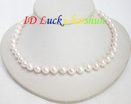 NEW AAA LUSTER round 10mm white pearls necklace  14K j7113