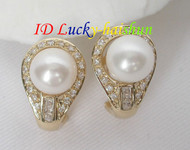 AAA Genuine round white pearls Earrings 14K Solid gold j6969