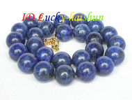 AAA 100% NATURE ROUND LAPIS LAZULI NECKLACE 16MM j6724