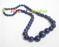 "AAA 19"" 16mm natural round Graduated lapis lazuli necklace j6551"