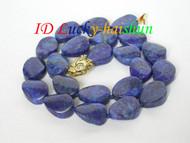 Genuine 18mm ellipse olivary lapis lazuli necklace j6437