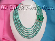 Genuine 6row natural round turquoise bead necklace carven 925sc clasp j5511
