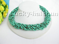 AAA 10Stds natural turquoise necklace turquoise clasp j4563
