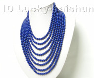 AAA 100% nature 8row round lapis lazuli necklace 925sc clasp j4157