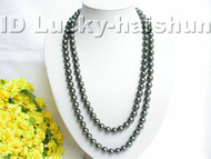 """50"""" 10mm round Tahitian black sea shell pearls necklace j3452"""