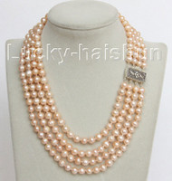 """16"""" 4 Strand 8mm pink FW pearls necklace 925 silver clasp j10681"""