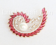 """2.5""""X1.5"""" 12mm white south sea shell pearls red crystal Brooch gold plated j10768"""