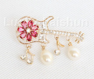"""2""""X1"""" violin shape white south sea shell pearls Brooch gold plated j10774"""