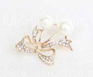 """1""""X1.2"""" bowknot white south sea shell pearls Brooch crystal gold plated j10777"""