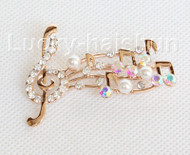 """2""""X1.5"""" musical note shape white south sea shell pearls Brooch crystal gold plated j10779"""