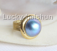 AAA natural 20mm blister blue South Sea Mabe Pearls Rings silver filled gold 8# j11032