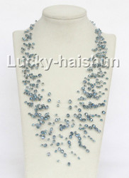 "17"" 18row Baroque light blue crystal necklace j11037"