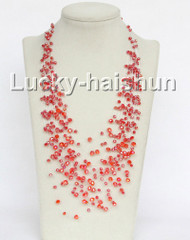 "17"" 18row Baroque red crystal necklace j11040"