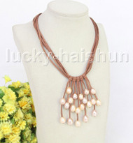 """16"""" 5row 13mm Baroque pink freshwater pearls khaki leather necklace j11232"""
