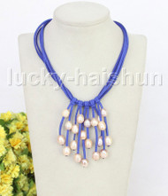"""16"""" 5row 13mm Baroque pink freshwater pearls blue leather necklace j11238"""