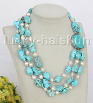 """17"""" 3row Natural baroque white pearls blue turquoise necklace turquoise clasp j11264"""