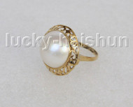 AAA 20mm blister white South Sea Mabe Pearls Rings silver filled gold 8# j11273