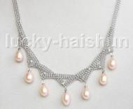 """15-18"""" 10mm adjustable drop gem stone pink freshwater pearls necklace 18KGP j11316"""