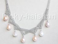 "15""-18"" 10mm adjustable drop gem stone white pink purple pearls necklace 18KGP j11323"