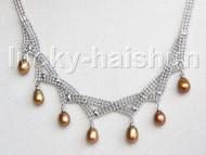 "15""-18"" 10mm adjustable drop gem stone coffee pearls necklace 18KGP j11324"