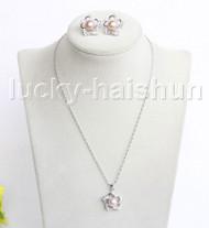 "16"" 20mm purple freshwater pearls necklace Earrings set 18KGP j11331"