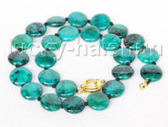 "17"" 16mm coin fastener green chrysocolla necklace j11390"