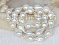 """Super Luster 17"""" BAROQUE 16MM WHITE SOUTH SEA PEARL NECKLACE 14K clasp j11413"""