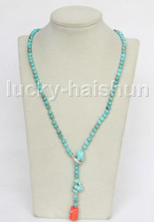 """25"""" 6mm natural round blue turquoise pink coral necklace 18KGP j11550"""