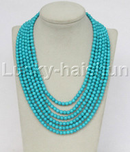 """Genuine 17""""-22"""" 6row 6mm round blue turquoise necklace magnet clasp j11686"""