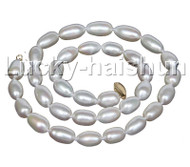 """AAA+ luster natural 18"""" 15mm white pearls necklace 14K gold clasp j11770"""